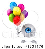 Clipart Of A 3d Blue Eyeball Character Holding And Pointing To Party Balloons Royalty Free Illustration