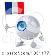 Clipart Of A 3d Blue Eyeball Character Walking To The Left And Holding A French Flag Royalty Free Illustration