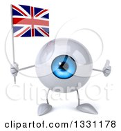 Clipart Of A 3d Blue Eyeball Character Giving A Thumb Up And Holding A British Union Jack Flag Royalty Free Illustration
