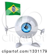 Clipart Of A 3d Blue Eyeball Character Giving A Thumb Down And Holding A Brazilian Flag Royalty Free Illustration