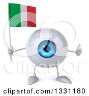 Clipart Of A 3d Blue Eyeball Character Giving A Thumb Up And Holding An Italian Flag Royalty Free Illustration