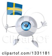 Clipart Of A 3d Blue Eyeball Character Jumping And Holding A Swedish Flag Royalty Free Illustration
