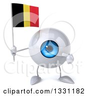Clipart Of A 3d Blue Eyeball Character Holding And Pointing To A Belgian Flag Royalty Free Illustration