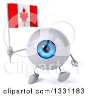 Clipart Of A 3d Blue Eyeball Character Walking And Holding A Canadian Flag Royalty Free Illustration