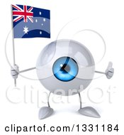 Clipart Of A 3d Blue Eyeball Character Giving A Thumb Up And Holding An Australian Flag Royalty Free Illustration