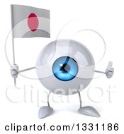 Clipart Of A 3d Blue Eyeball Character Giving A Thumb Up And Holding A Japanese Flag Royalty Free Illustration