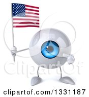 Clipart Of A 3d Blue Eyeball Character Holding And Pointing To An American Flag Royalty Free Illustration