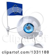 Clipart Of A 3d Blue Eyeball Character Holding And Pointing To A European Flag Royalty Free Illustration