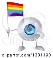 Clipart Of A 3d Blue Eyeball Character Holding And Pointing To A Rainbow Flag Royalty Free Illustration