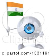Clipart Of A 3d Blue Eyeball Character Holding And Pointing To An Indian Flag Royalty Free Illustration
