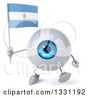 Clipart Of A 3d Blue Eyeball Character Walking And Holding An Argentine Flag Royalty Free Illustration