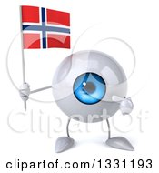 Clipart Of A 3d Blue Eyeball Character Holding And Pointing To A Norwegian Flag Royalty Free Illustration