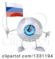 Clipart Of A 3d Blue Eyeball Character Giving A Thumb Down And Holding A Russian Flag Royalty Free Illustration