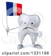 Clipart Of A 3d Happy Tooth Character Holding And Pointing To A French Flag Royalty Free Illustration