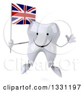 Clipart Of A 3d Happy Tooth Character Jumping And Holding A British Union Jack Flag Royalty Free Illustration