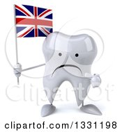 Clipart Of A 3d Unhappy Tooth Character Holding And Pointing To A British Union Jack Flag Royalty Free Illustration
