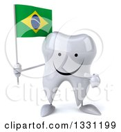 Clipart Of A 3d Happy Tooth Character Holding And Pointing To A Brazilian Flag Royalty Free Illustration