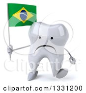 Clipart Of A 3d Unhappy Tooth Character Walking And Holding A Brazilian Flag Royalty Free Illustration