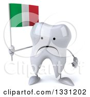 Clipart Of A 3d Unhappy Tooth Character Holding An Italian Flag Royalty Free Illustration