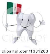 Clipart Of A 3d Happy Tooth Character Jumping Holding A Mexican Flag Royalty Free Illustration