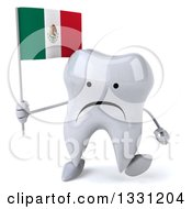 Clipart Of A 3d Unhappy Tooth Character Walking And Holding A Mexican Flag Royalty Free Illustration