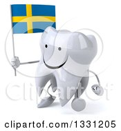 Clipart Of A 3d Happy Tooth Character Walking To The Left And Holding A Swedish Flag Royalty Free Illustration