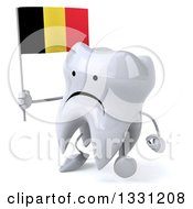 Clipart Of A 3d Unhappy Tooth Character Walking To The Left And Holding A Belgian Flag Royalty Free Illustration