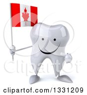 Clipart Of A 3d Happy Tooth Character Holding And Pointing To A Canadian Flag Royalty Free Illustration