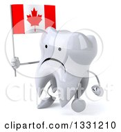 Clipart Of A 3d Unhappy Tooth Character Walking To The Left And Holding A Canadian Flag Royalty Free Illustration