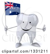 Clipart Of A 3d Happy Tooth Character Giving A Thumb Up And Holding An Australian Flag Royalty Free Illustration