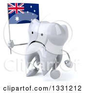 Clipart Of A 3d Unhappy Tooth Character Walking To The Left And Holding An Australian Flag Royalty Free Illustration