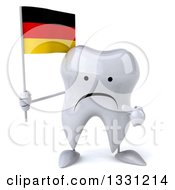 Clipart Of A 3d Unhappy Tooth Character Holding And Pointing To A German Flag Royalty Free Illustration
