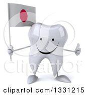 Clipart Of A 3d Happy Tooth Character Giving A Thumb Up And Holding A Japanese Flag Royalty Free Illustration