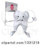 Clipart Of A 3d Unhappy Tooth Character Jumping And Holding A Japanese Flag Royalty Free Illustration