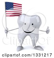 Clipart Of A 3d Happy Tooth Character Giving A Thumb Up And Holding An American Flag Royalty Free Illustration