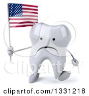 Clipart Of A 3d Unhappy Tooth Character Walking And Holding An American Flag Royalty Free Illustration