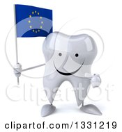 Clipart Of A 3d Happy Tooth Character Holding And Pointing To A European Flag Royalty Free Illustration