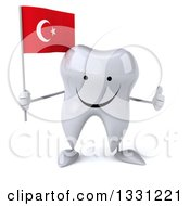 Clipart Of A 3d Happy Tooth Character Giving A Thumb Up And Holding A Turkish Flag Royalty Free Illustration