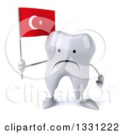 Clipart Of A 3d Unhappy Tooth Character Holding A Turkish Flag Royalty Free Illustration