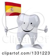 Clipart Of A 3d Happy Tooth Character Giving A Thumb Up And Holding A Spanish Flag Royalty Free Illustration
