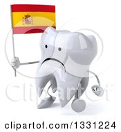 Clipart Of A 3d Unhappy Tooth Character Walking To The Left And Holding A Spanish Flag Royalty Free Illustration