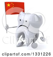 Clipart Of A 3d Unhappy Tooth Character Walking To The Left And Holding A Chinese Flag Royalty Free Illustration