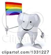 Clipart Of A 3d Happy Tooth Character Holding A Rainbow Flag Royalty Free Illustration