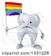 Clipart Of A 3d Unhappy Tooth Character Holding A Rainbow Flag Royalty Free Illustration