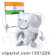 Clipart Of A 3d Happy Tooth Character Walking To The Left And Holding An Indian Flag Royalty Free Illustration
