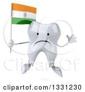 Clipart Of A 3d Unhappy Tooth Character Jumping And Holding An Indian Flag Royalty Free Illustration