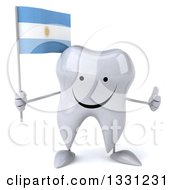 Clipart Of A 3d Happy Tooth Character Giving A Thumb Up And Holding An Argentine Flag Royalty Free Illustration