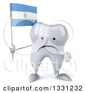 Clipart Of A 3d Unhappy Tooth Character Holding And Pointing To An Argentine Flag Royalty Free Illustration