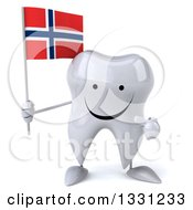 Clipart Of A 3d Happy Tooth Character Holding And Pointing To A Norwegian Flag Royalty Free Illustration