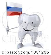 Clipart Of A 3d Happy Tooth Character Holding And Pointing To A Russian Flag Royalty Free Illustration